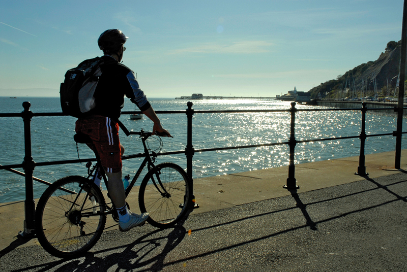 Cycling in Swansea bay